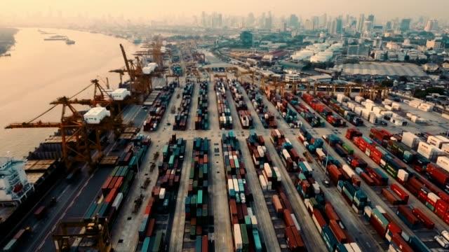 View of cargo ship at cargo terminal