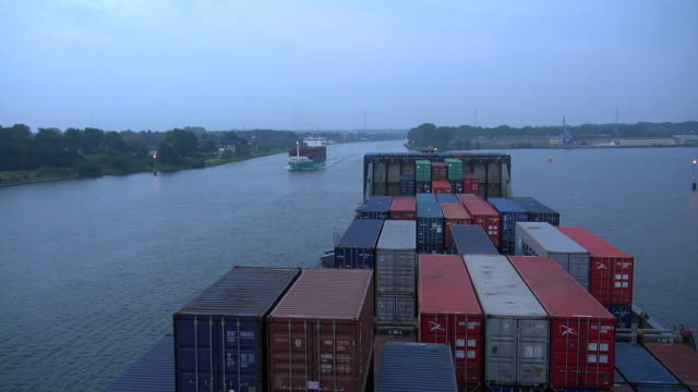 ws pov view of cargo ships moving on kiel canal, schleswig holstein / hamburg, germany - schleswig holstein stock videos & royalty-free footage