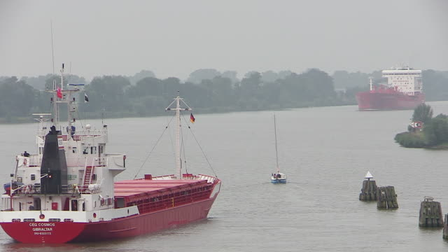 ws view of cargo vessels moving on kiel canal, schleswig holstein / hamburg, germany - schleswig holstein stock videos & royalty-free footage
