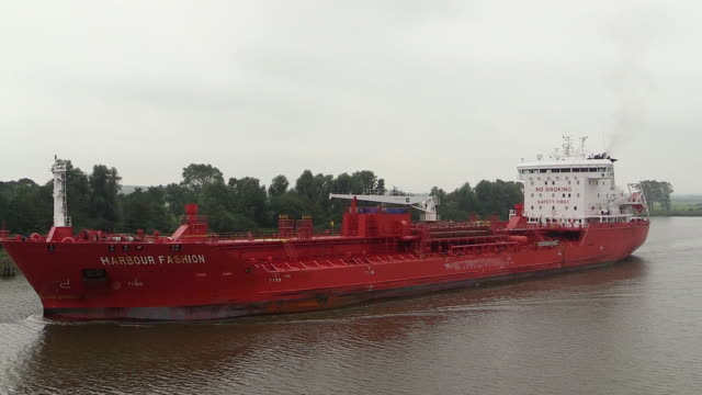 ws ts zo view of cargo vessels moving on kiel canal, schleswig holstein / hamburg, germany - schleswig holstein stock videos & royalty-free footage