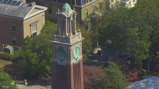 MS ZO AERIAL POV View of Carrie Tower with Brown University / Providence, Rhode Island, United States