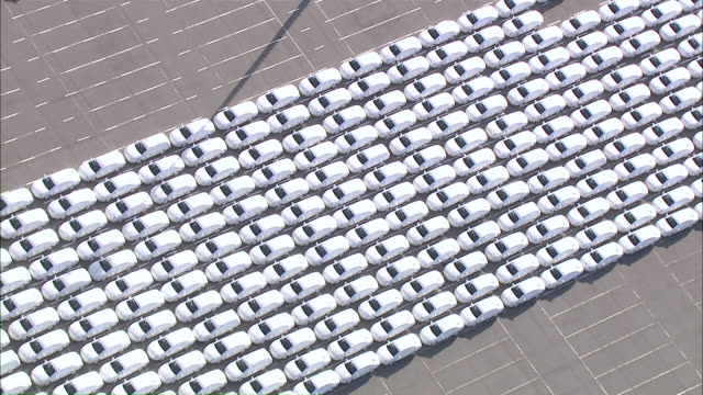 aerial zi ms view of cars at carpark  / emden + pilsum, lower saxony, germany - repetition stock videos & royalty-free footage