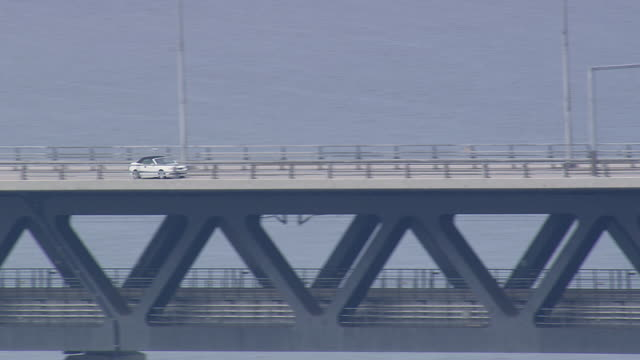 WS AERIAL ZO View of cars on oresund bridge / Copenhagen, Denmark
