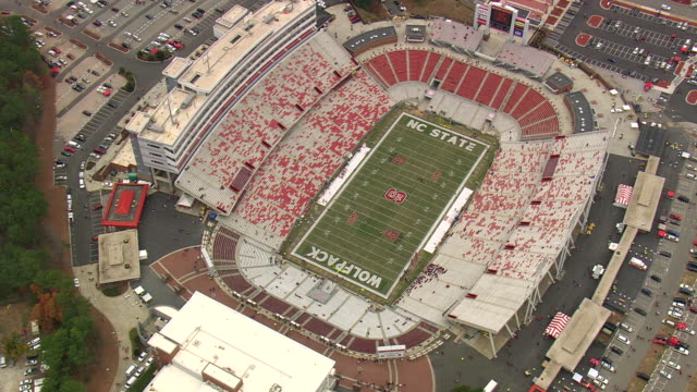 WS AERIAL ZI View of Carter Finley Stadium - during game / North Carolina, United States
