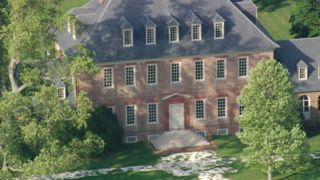 ws aerial zi zo view of carters grove plantation / virginia, united states - wäldchen stock-videos und b-roll-filmmaterial