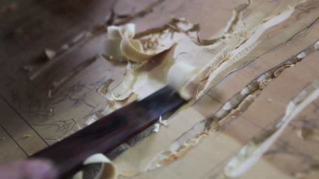 View of Carving a woodcut with chisel