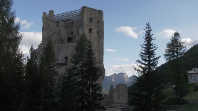 view of castello di andraz, province of belluno, italian dolomites, italy, europe - circa 11th century stock videos & royalty-free footage