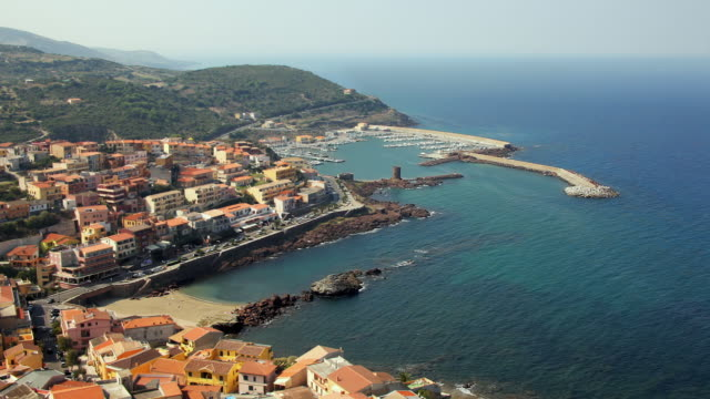 ws ha view of castelsardo / sardinia, italy - real time stock videos & royalty-free footage
