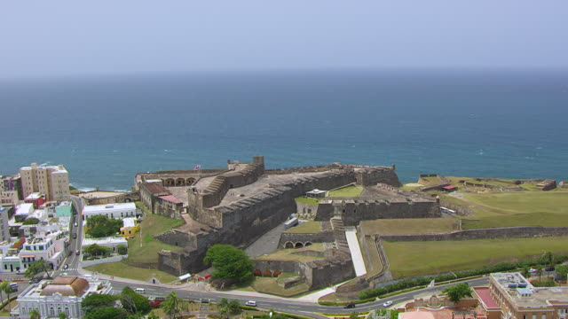 ws aerial pov view of castillo san cristobal fortress / old san juan, puerto rico, united states - 16th century style stock videos and b-roll footage