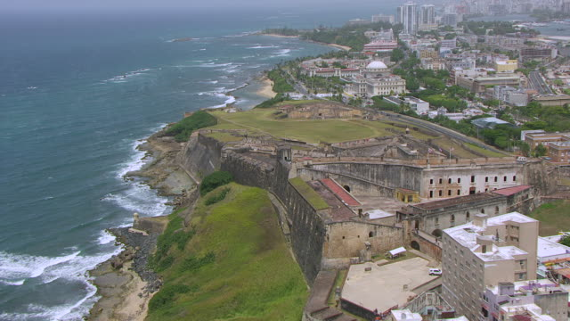 ms aerial pov zo view of castillo san cristobal fortress / old san juan, puerto rico, united states - 16th century style stock videos & royalty-free footage