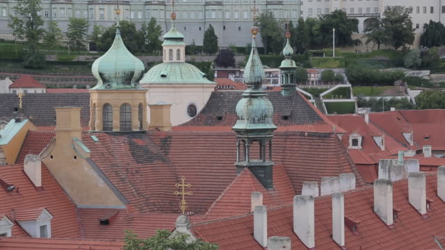 view of castle district from charles bridge, prague, czech republic, europe - stare mesto stock videos & royalty-free footage