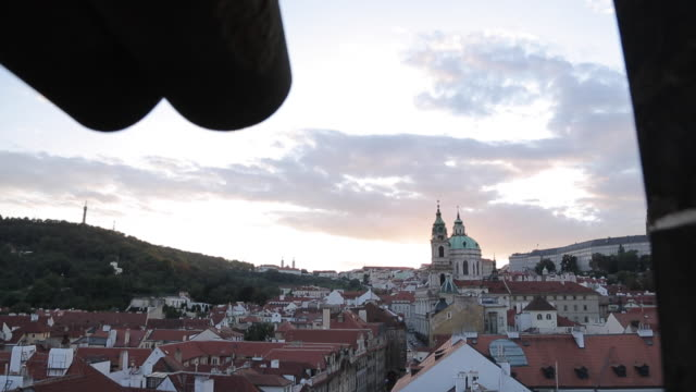view of castle district with st. vitus cathedral and royal palace, from charles bridge, prague, czech republic, europe - stare mesto stock videos and b-roll footage
