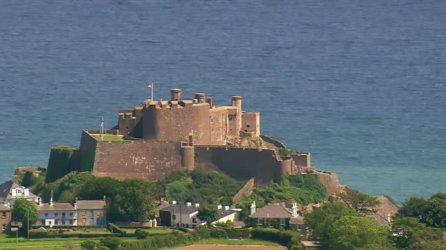 MS AERIAL View of castle / Guernsey, Channel Isles