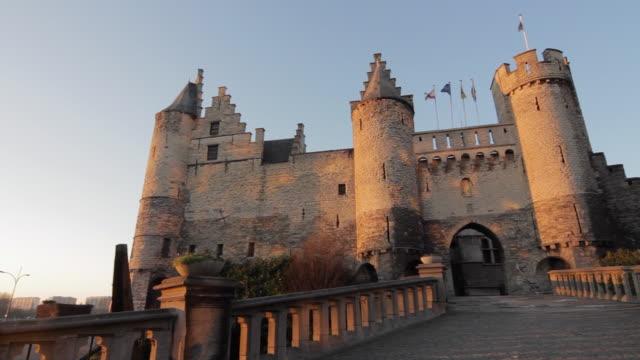 WS PAN View of castle in center of Antwerp at dusk / Antwerp, Belgium