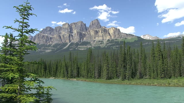 WS View of Castle Mountain with Bow River /  Banff Nationalpark, Alberta, Canada