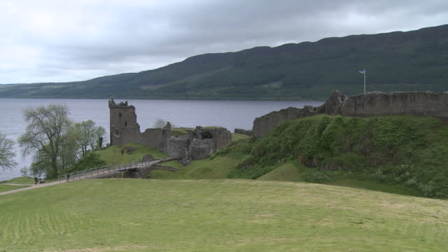 WS View of castle near river / Strone, Great Glen, Highlands, Scotland