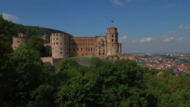view of castle ruins, heidelberg, baden-wurttemberg, germany, europe - castle stock videos & royalty-free footage
