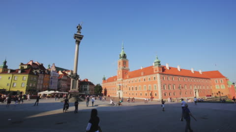 view of castle square old town warsaw poland - poland stock videos & royalty-free footage