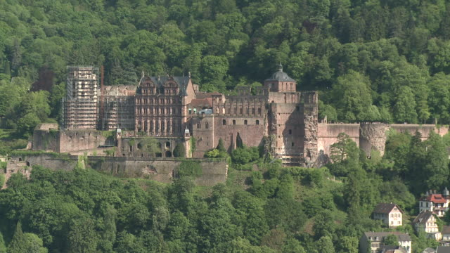 ms view of castle surrounded by tree / heidelberg, baden-wuerttemberg, germany - heidelberg castle stock videos & royalty-free footage