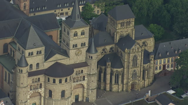 ws aerial view of cathedral and church / trier, rhineland palatinate - cathedral stock videos & royalty-free footage