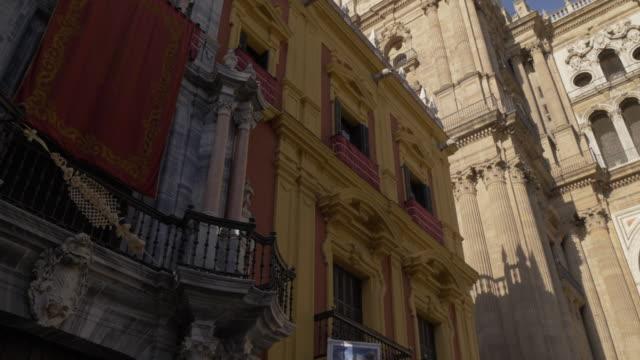 view of cathedral and obispado de malaga from plaza del obispo, malaga, andalucia, spain, europe - history stock videos & royalty-free footage