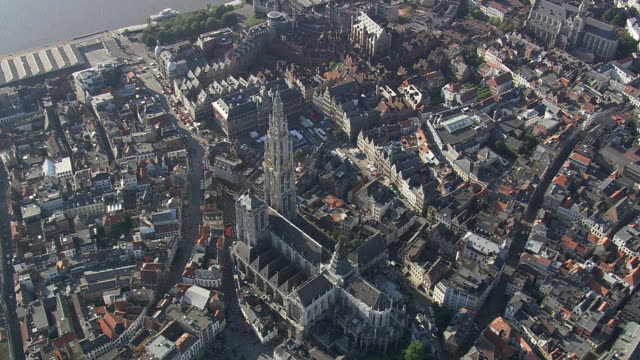 MS AERIAL ZI ZO DS View of Cathedral and Square(Grand Place) in city / Flemish Region, Belgium