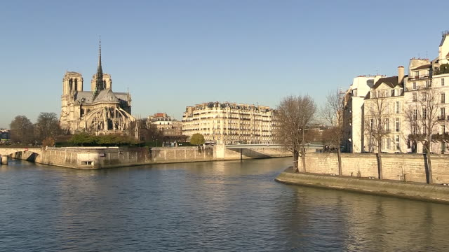 ws view of cathedral notre dame and river / paris, ile de france, france - ile de france stock videos and b-roll footage