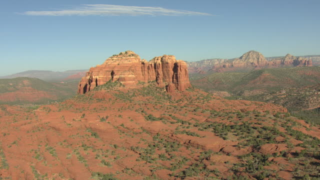 WS AERIAL View of Cathedral Rock and surrounding valley / Sedona, Arizona, United States