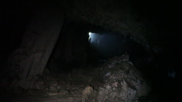View of cave exit from from inside a cave