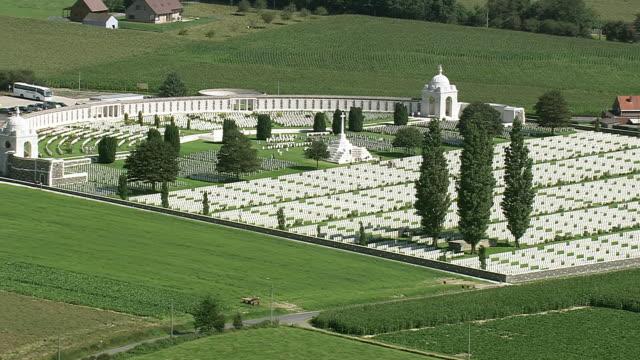 ms aerial zo zi pan ds view of cemetery passendale / flanders, belgium - cemetery stock videos & royalty-free footage