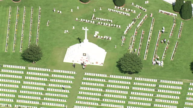 ws aerial zo zi view of cemetery passendale with farm land / flanders, belgium - cemetery stock videos & royalty-free footage