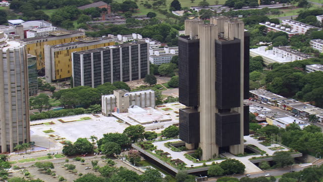 WS AERIAL View of Central Bank / Brasilia, Brazil