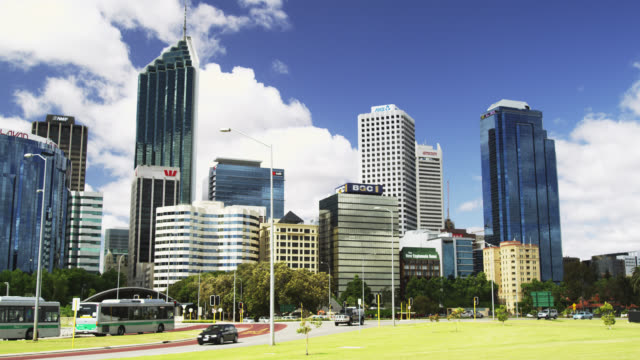 WS View of Central Business District buildings skyline / Perth, Western Australia, Australia