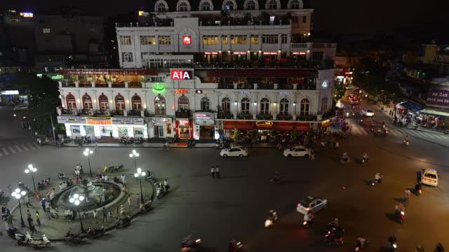 vídeos y material grabado en eventos de stock de ms t/l view of central hanoi at dusk / hanoi, vietnam - letrero de tienda