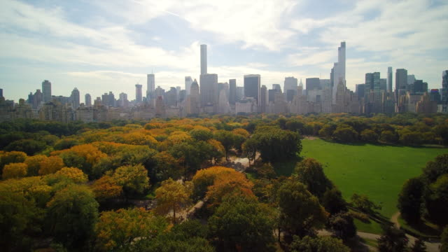 WS AERIAL POV View of Central Park with financial district in background / Manhattan, New York City, New York State, United States