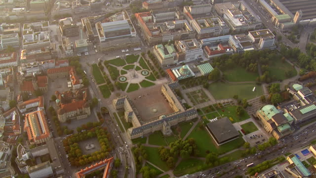 WS AERIAL ZO View of central station to castle square and to city / Stuttgart, Baden Wurttemberg