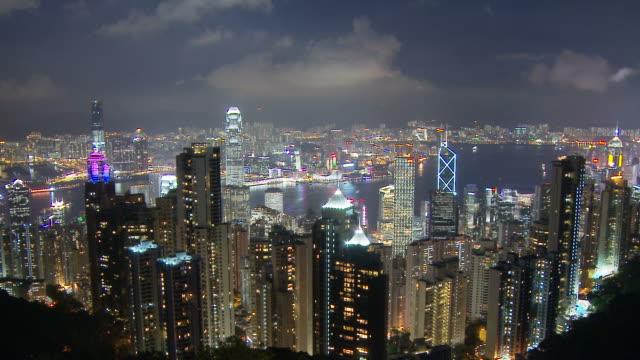 view of central towers island hong kong, china - central plaza hong kong stock videos & royalty-free footage