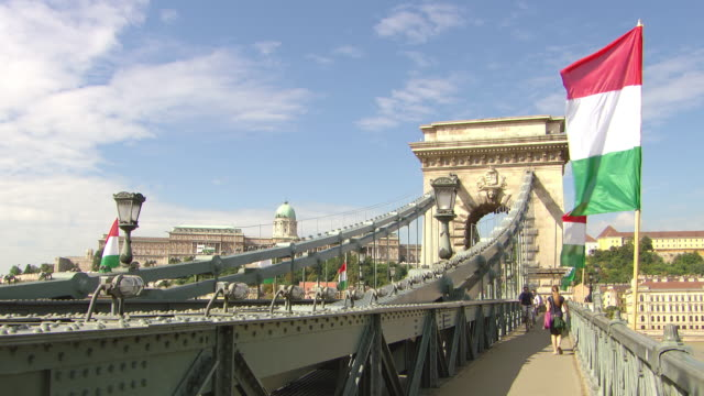 ws view of chain bridge with people walking and cycling / budapest, hungary - széchenyi chain bridge stock videos and b-roll footage