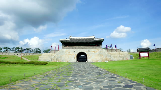 view of changnyongmun gate in suwonhwasung castle (unesco heritage) - suwon stock videos and b-roll footage