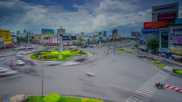 WS T/L View of chaotic traffic at busy roundabout (circle of death) / Ho Chi Minh City - Saigon, Vietnam