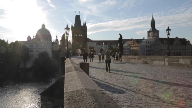 view of charles bridge, prague, czech republic, europe - charles bridge stock videos & royalty-free footage