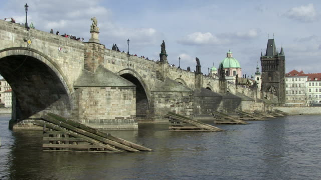 ms view of charles bridge / prague, hlavni mesto praha, czech republic - charles bridge stock videos and b-roll footage