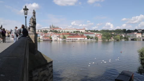 view of charles bridge & vltava with st. vitus cathedral and royal palace, prague, czech republic, europe - 聖ヴィート大聖堂点の映像素材/bロール
