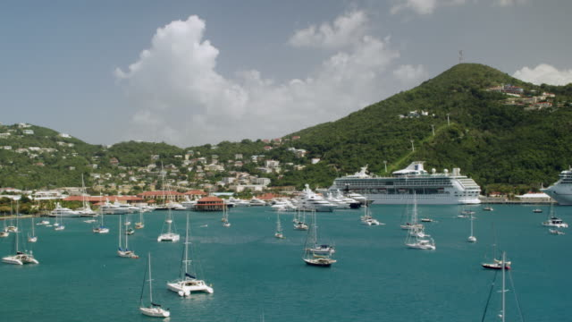 WS AERIAL POV View of Charlotte Amalie Harbor / Charlotte Amalie, St. Thomas - Virgin Islands, United States