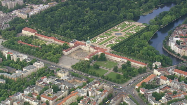 ws aerial zo view of charlottenburg palace and garden nearby lake / germany - charlottenburg palace stock videos & royalty-free footage