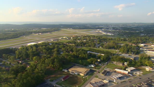 ws aerial view of chattanooga metropolitan airport / chattanooga, tennessee, united states  - chattanooga stock videos and b-roll footage