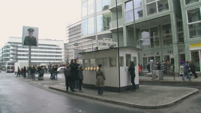 WS View of Checkpoint Charlie at Frederick Street / Berlin, Germany