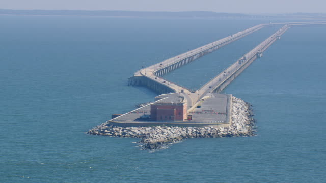 ws aerial zi view of chesapeake bay bridge tunnel / virginia, united states - 50 seconds or greater stock videos & royalty-free footage