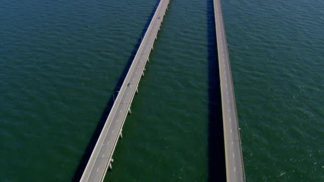 ws aerial zi zo view of chesapeake bay bridge tunnel / virginia, united states - virginia beach stock videos & royalty-free footage
