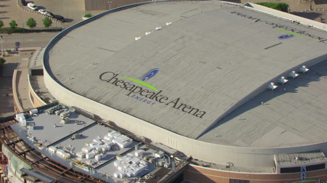 WS AERIAL ZO View of Chesapeake Energy Arena sign on rooftop / Oklahoma City, Oklahoma, United States